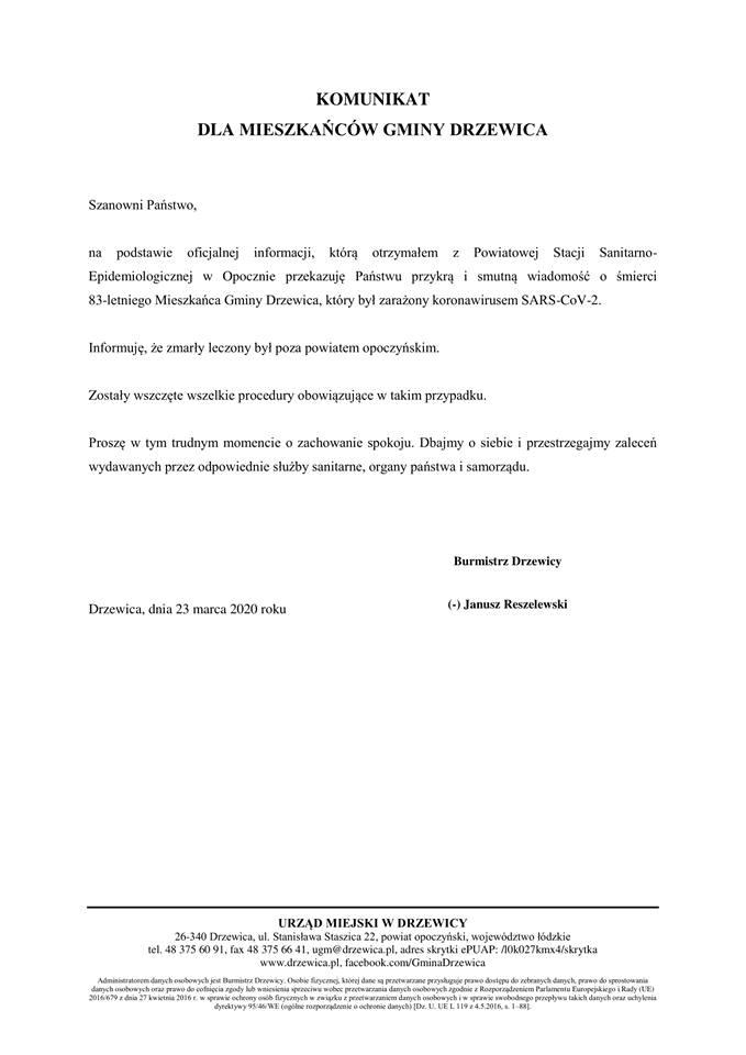 Komunikat w sprawie pierwszej ofiary koronawirusa.