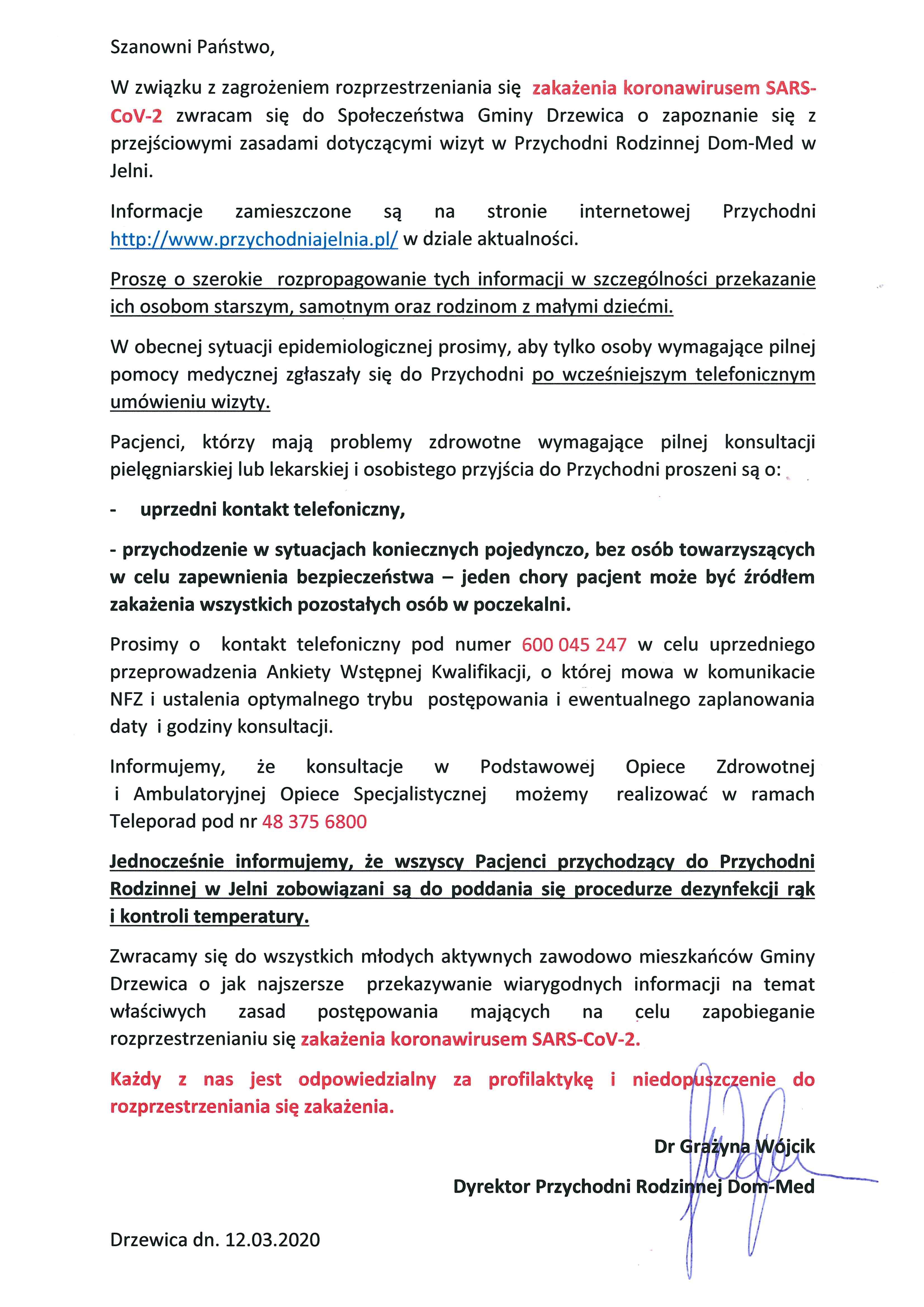 Komunikat Dyrektor Przychodni Rodzinnej Dom-Med