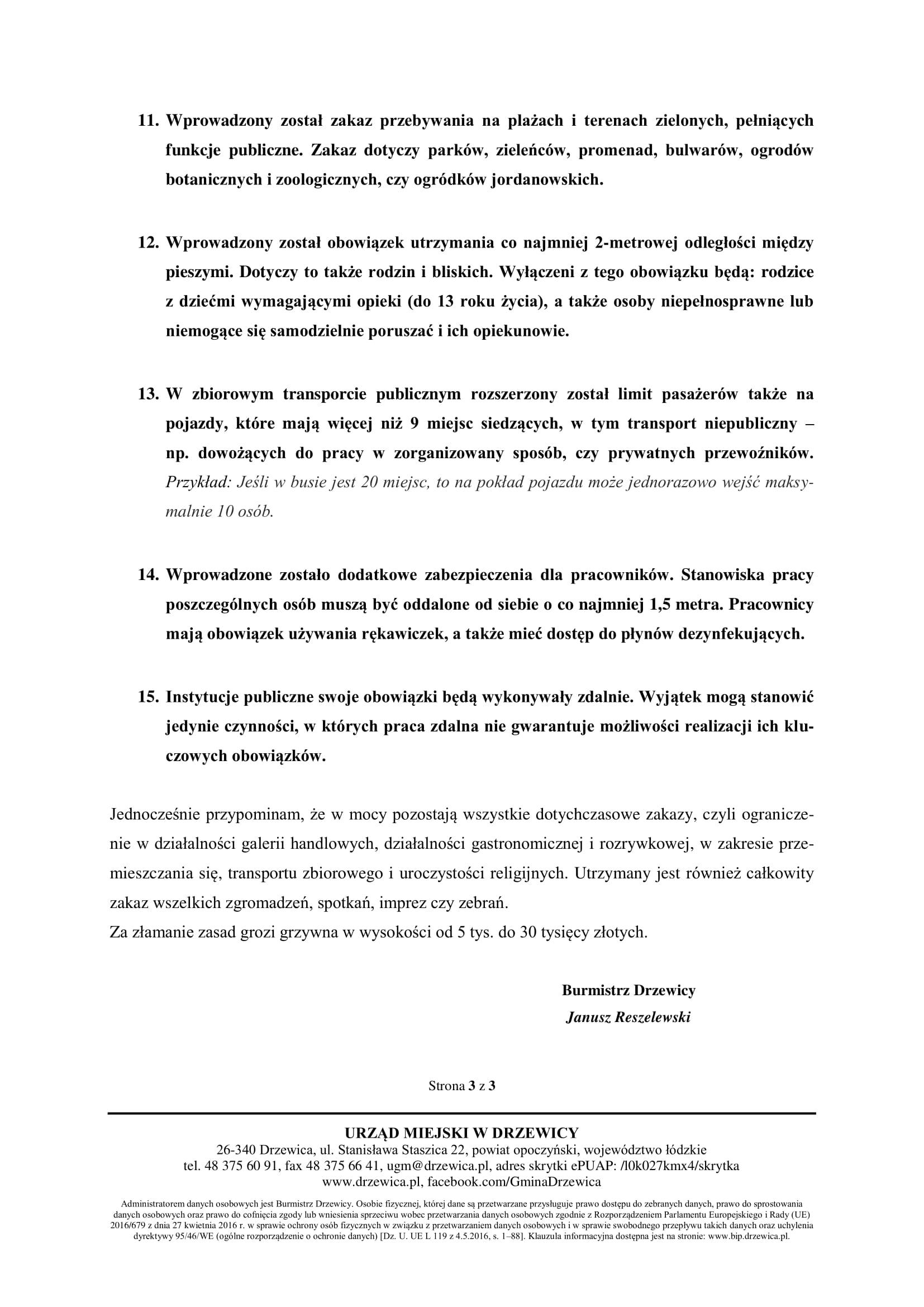 Komunikat Burmistrza Drzewicy - Ograniczenia
