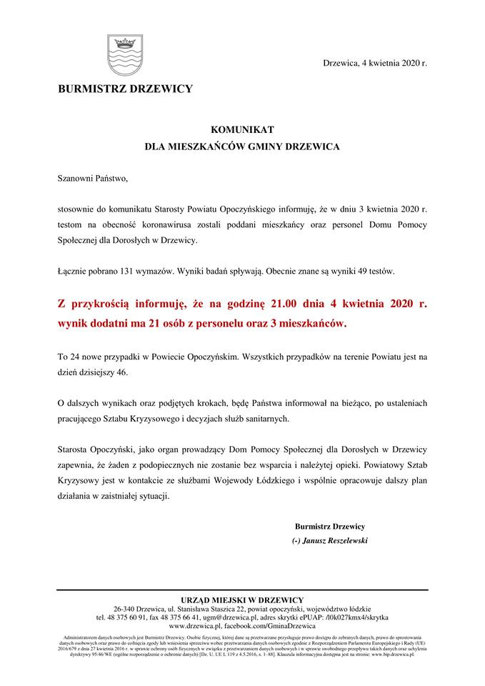 Pilny Komunikat Burmistrza Drzewicy.