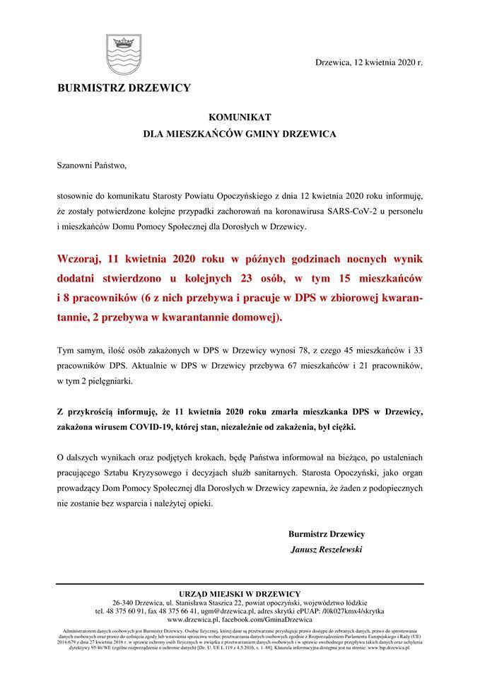 Komunikat Burmistrza Drzewicy - kolejne zachorowania.