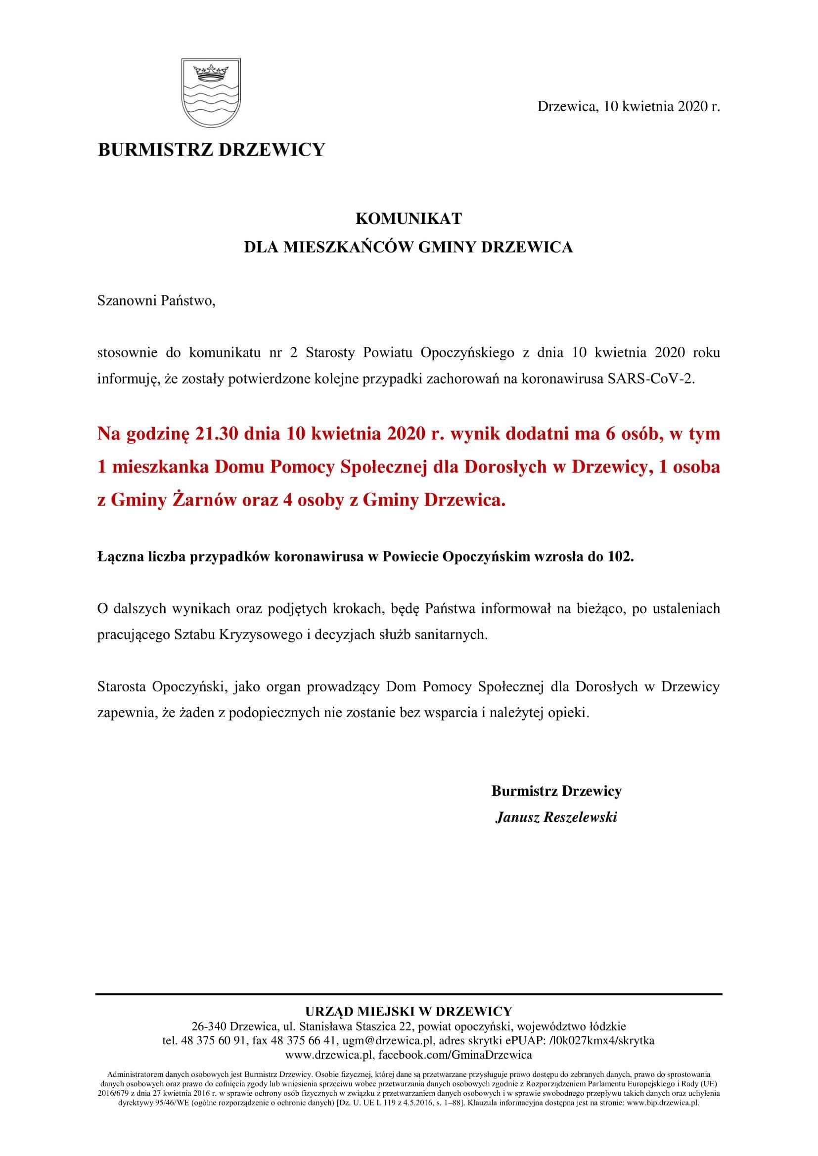 Komunikat Burmistrza Drzewica