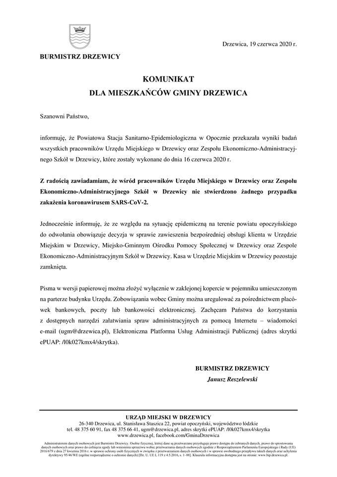 Komunikat Badanie Coronawirus