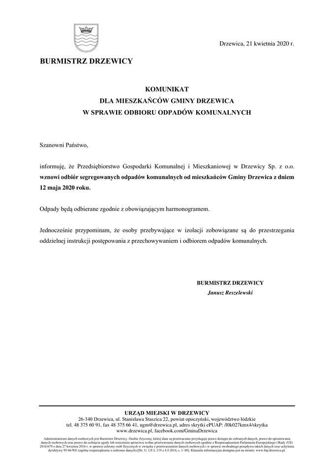 Komunikat w sprawie odbioru odpadów komunalnych.